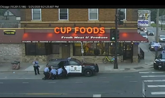 In this May 25, 2020 file image from Minneapolis city surveillance video, Minneapolis police are seen attempting to take George Floyd into custody in Minneapolis, Minn. The video was shown as Hennepin County Judge PeterCahill presided on Monday, March 29, 2021, in the trial of former Minneapolis police officer Derek Chauvin, in the death of Floyd at the Hennepin County Courthouse in Minneapolis, Minn. (Court TV via AP, Pool, File) ORG XMIT: CER903
