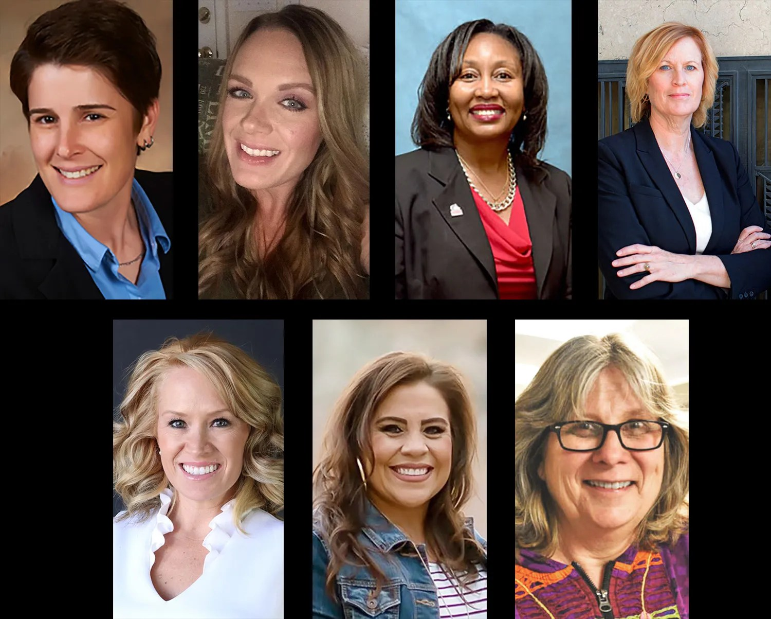 Inspiring Women (clockwise from top) Alexis Ellis, Jennifer Geitner, Marie Humphrey, Kendra Oyen, Isabel Waddell, Nicole Valdez and Jenny Smith will take part in leadership forums this week