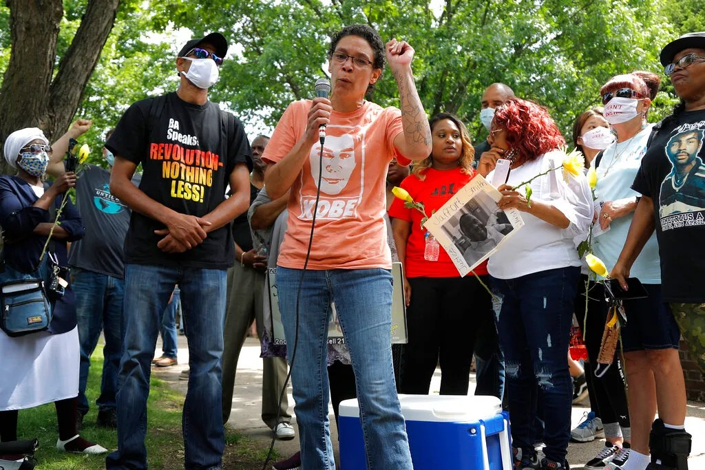 Amity Dimock speaks during a protest in front of the governor's mansion in St. Paul, Minnesota, on Saturday, June 6, 2020, during the wave of protests that followed George Floyd's death. Her son Kobe Dimock-Heisler was fatally shot by Brooklyn Center police.