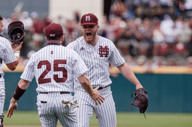 Mississippi State pitcher Landon Sims and outfielder Kyte McDonald celebrate beating Ole Miss on Sunday, April 18.