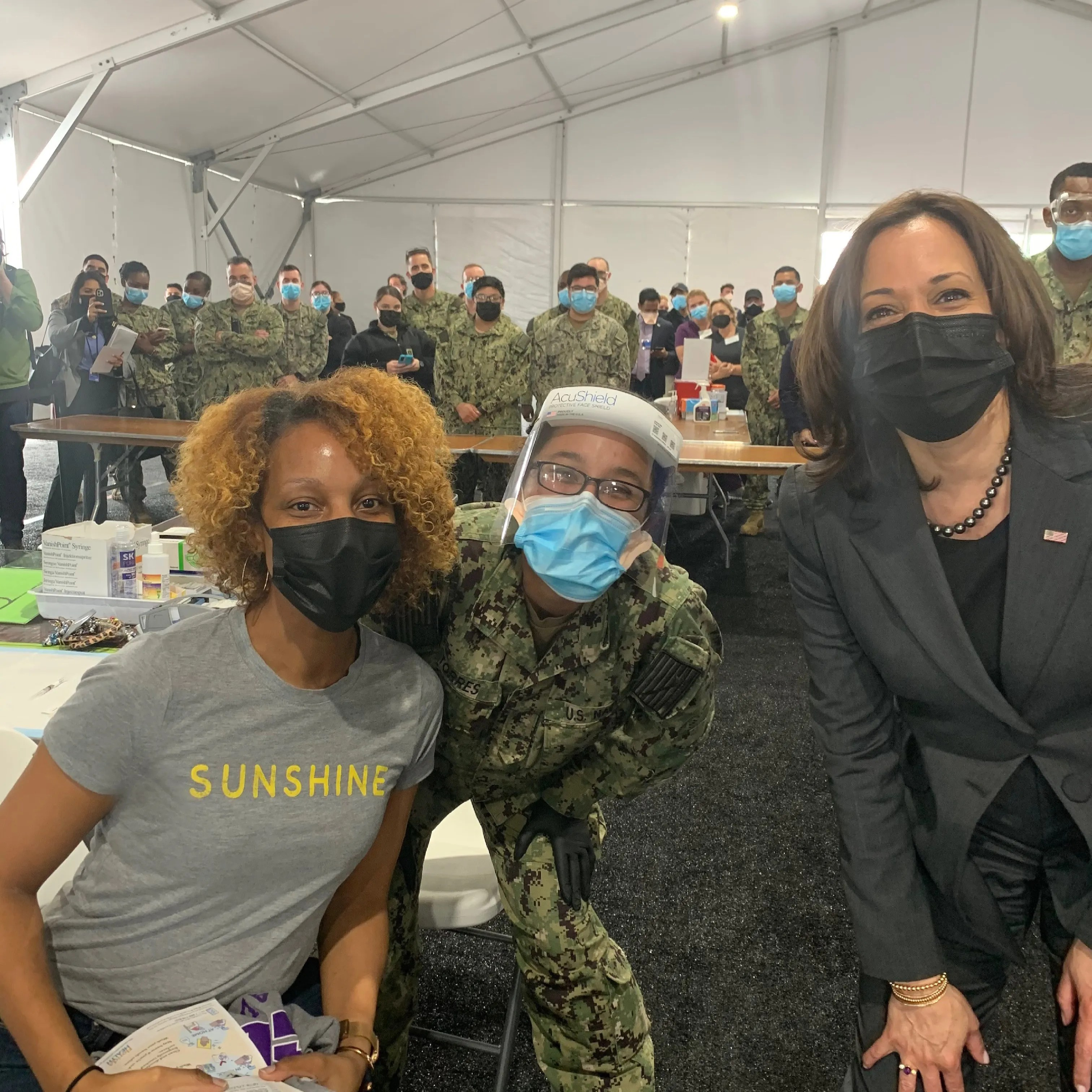 Shagara Bradshaw, left, met with Vice President Kamala Harris at a vaccination site in Jacksonville, Fla. On March 22, 2021.