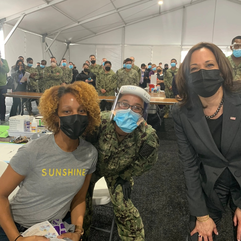 Shagara Bradshaw, left, met Vice President Kamala Harris at a vaccination site in Jacksonville, Fla., on March 22.