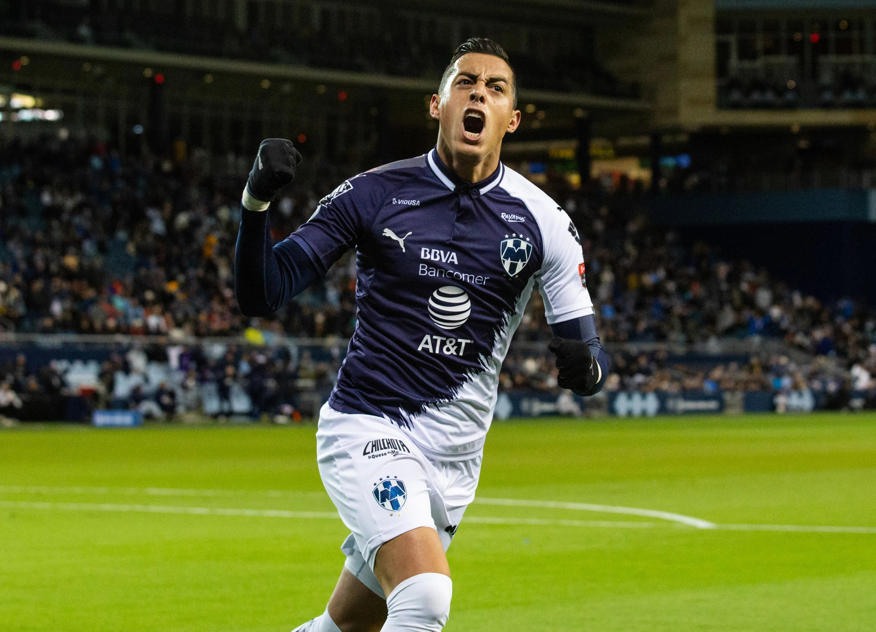 Apr 11, 2019; Kansas City, MO, USA; Monterrey forward Rogelio Funes Mori (7) celebrates after scoring against Sporting Kansas City at Children's Mercy Park. Mandatory Credit: Jay Biggerstaff-USA TODAY Sports