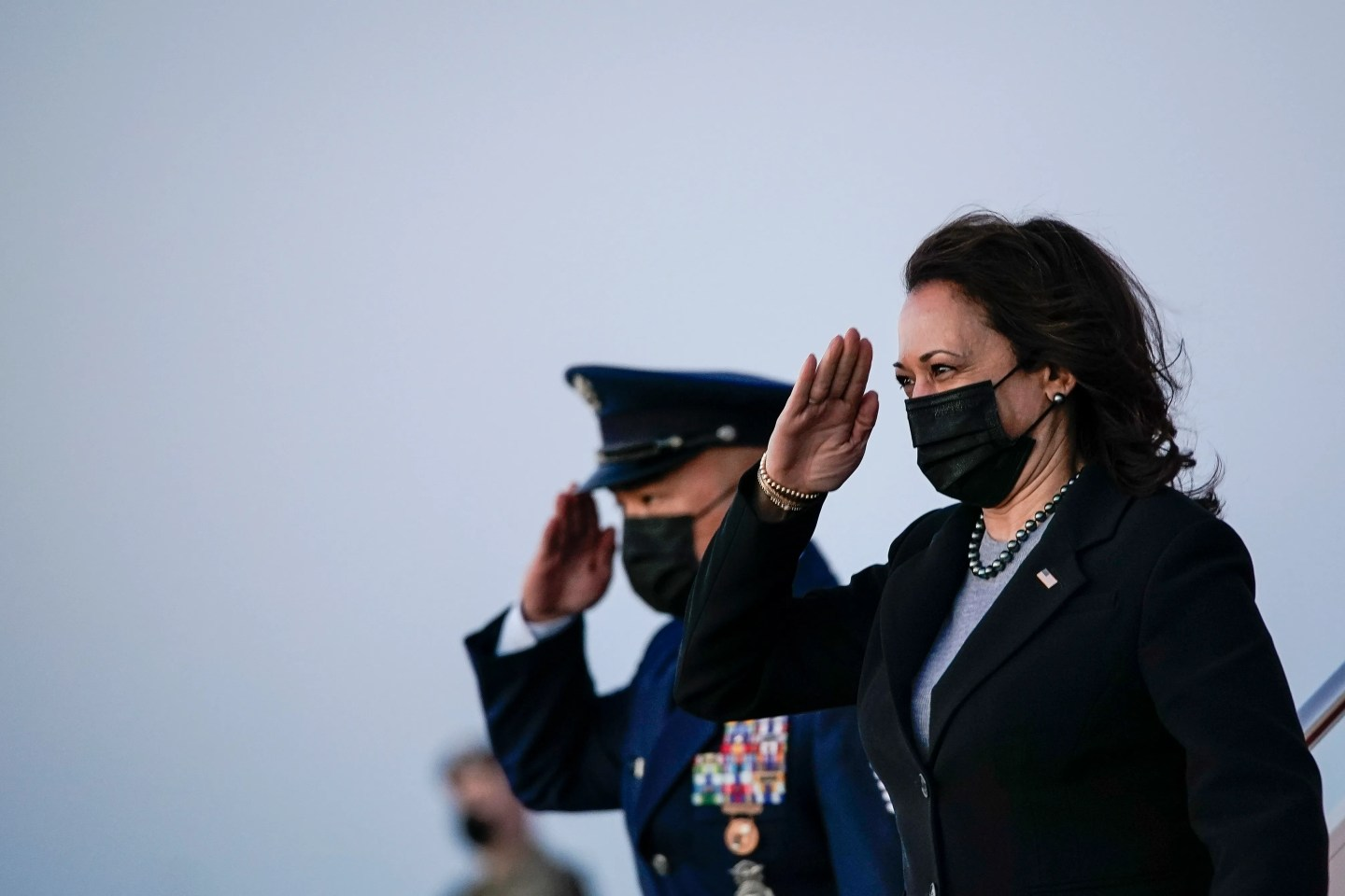 JOINT BASE ANDREWS, MD - MARCH 26: U.S. Vice President Kamala Harris salutes as she exits Air Force Two upon arrival at Joint Base Andrews on March 26, 2021 in Joint Base Andrews, Maryland. Harris traveled to New Haven, Connecticut to promote the Biden administration's recently passed $1.9 billion federal stimulus package. (Photo by Drew Angerer/Getty Images)