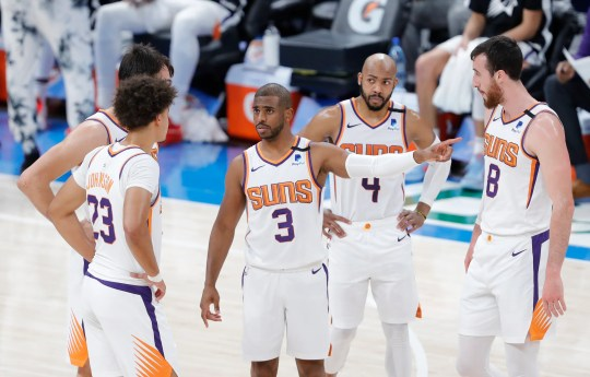 May 2, 2021; Oklahoma City, Oklahoma, USA; Phoenix Suns guard Chris Paul (3) talks to his team during a time out against the Oklahoma City Thunder in the second quarter at Chesapeake Energy Arena. Mandatory Credit: Alonzo Adams-USA TODAY Sports