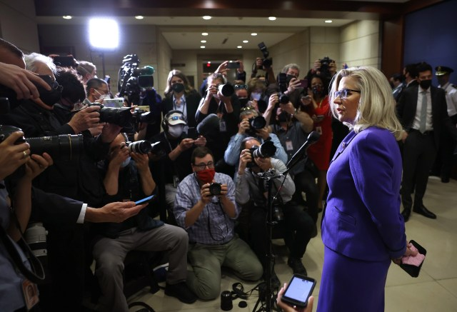 Rep. Liz Cheney (R-WY) speaks to members of the media after she was removed of her leadership role as Conference Chair, following a Republican House caucus meeting at the U.S. Capitol on on May 12, 2021 in Washington, DC. GOP members removed Conference Chair Liz Cheney (R-WY) from her leadership position after she became a target for former President Donald Trump and his followers in the House as she has continually expressed the need for the Republican Party to separate themselves from Trump over his role in the January 6 attack on the Capitol.