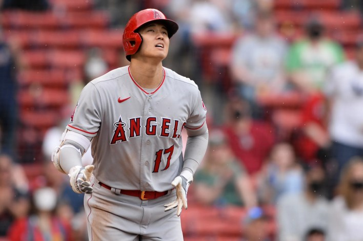 Shohei Ohtani watches after launching his game-winning home run vs. the Red Sox on Sunday.
