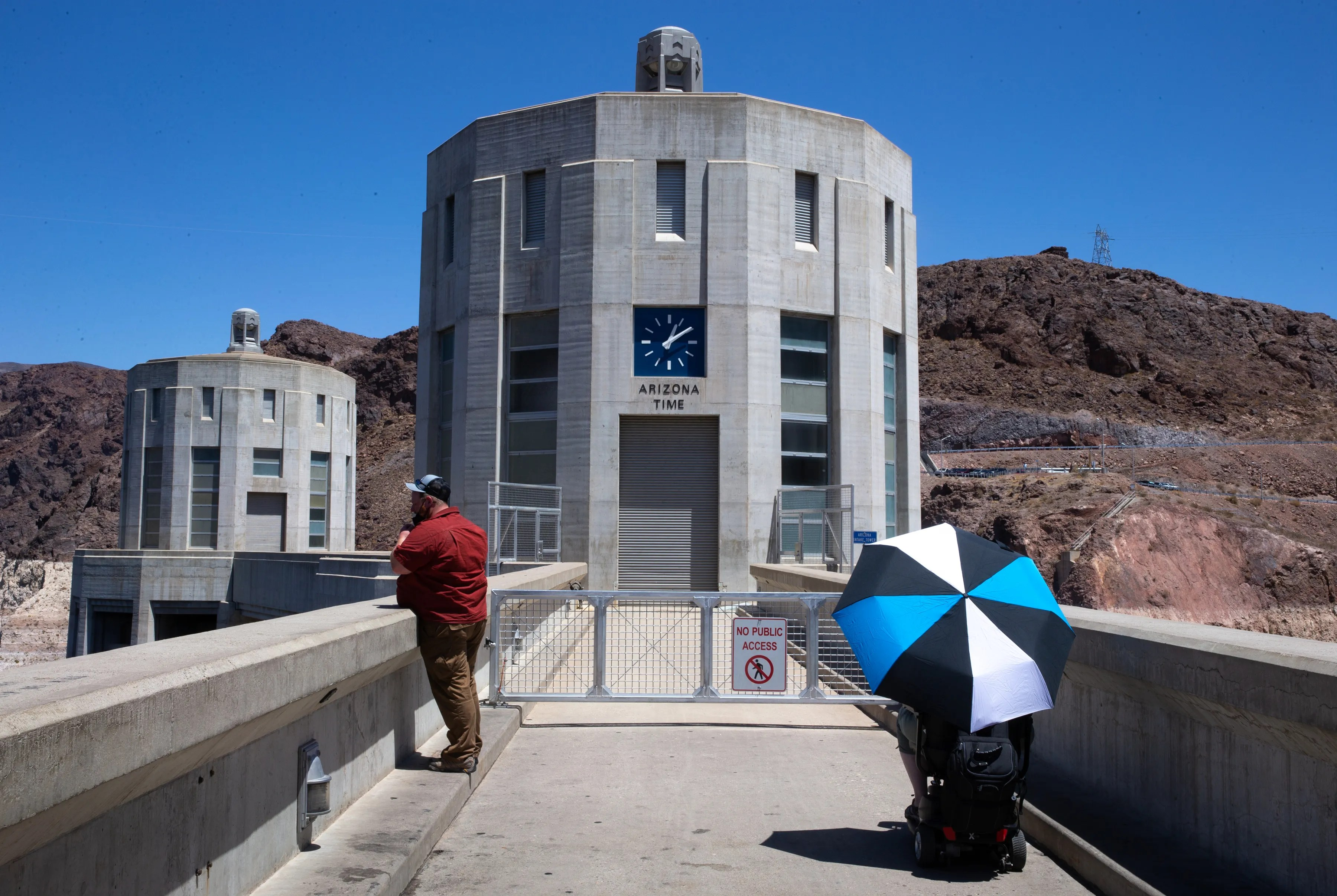 The intake towers on the Arizona side, May 12, 2021, at Hoover Dam, on the Arizona/Nevada border.