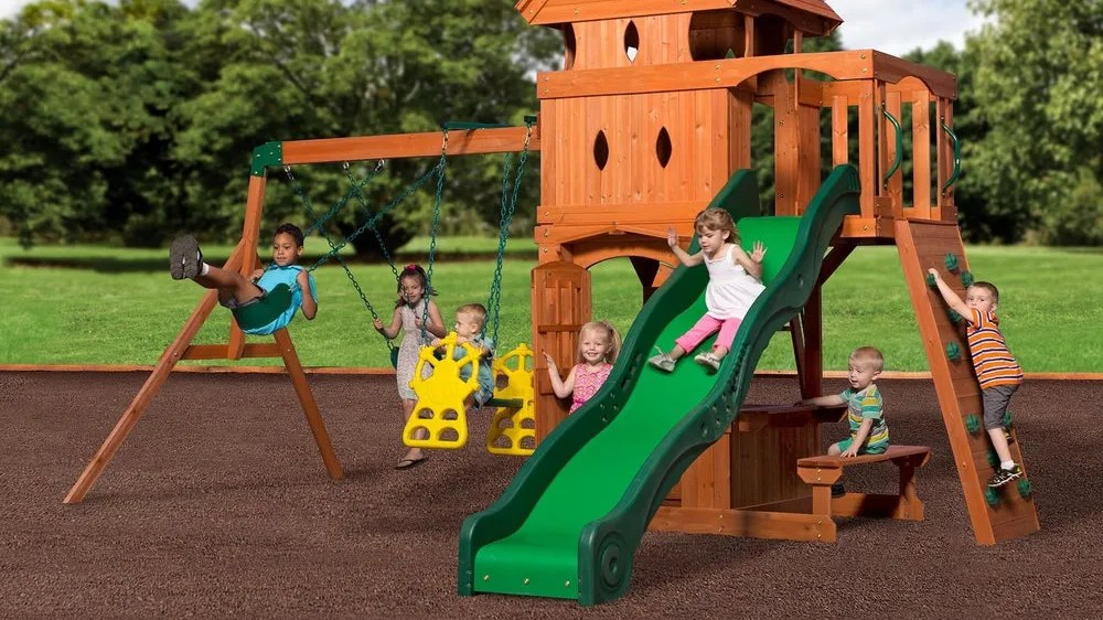 The Backyard Discovery cedar swing is a parent's favorite.