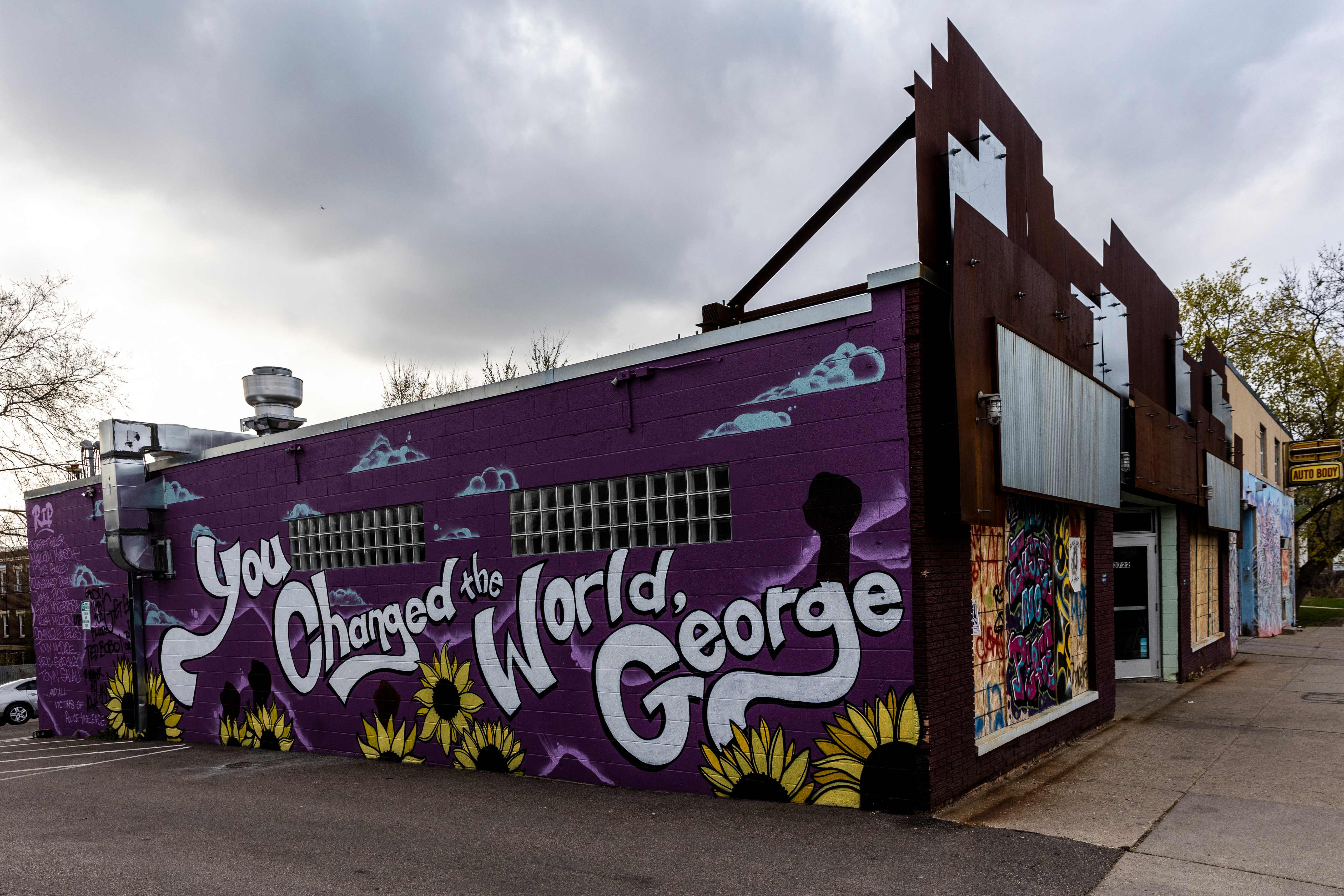 A mural is seen near George Floyd Square in Minneapolis, Minnesota on April 21, 2021, a day after Derek Chauvin was convicted of Floyd's murder.