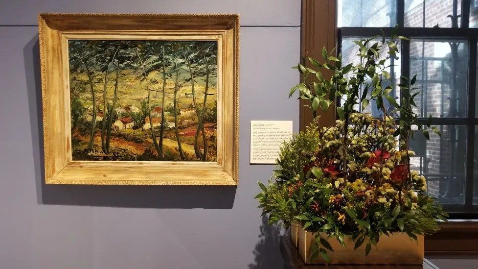 From 2019: André-Charles Nauleau, Landscape with Village. Interpreted by Howard County Garden Club: Darlene Brotzman, Dessie Moxley