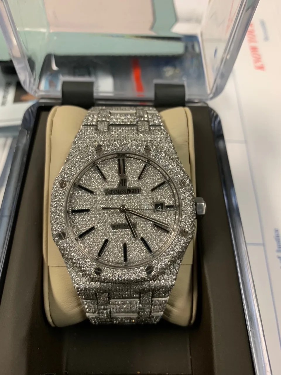 Diamond encrusted watch seized during a drug investigation.