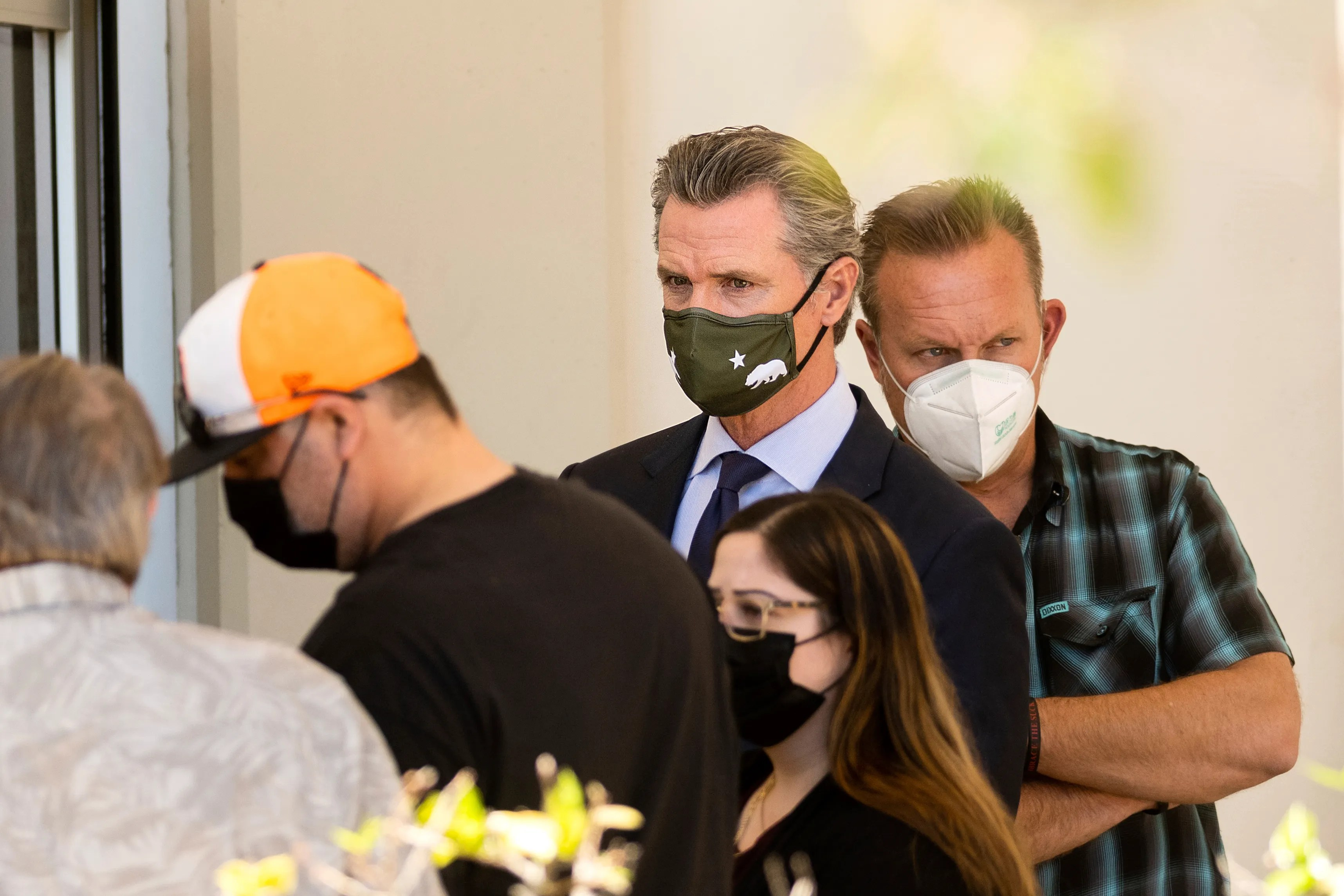 California Gov. Gavin Newsom met with family members of the dead on Wednesday. At a news conference, he expressing frustration with the cycle of mass shootings in the U.S.