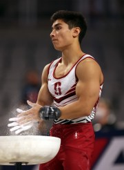 FORT WORTH, TEXAS - JUNE 05:  Brandon Briones #19 prepares to compete on pommel horse during the Men's Senior competition of the U. S. Gymnastics Championships at Dickies Arena on June 05, 2021 in Fort Worth, Texas. (Photo by Jamie Squire/Getty Images)