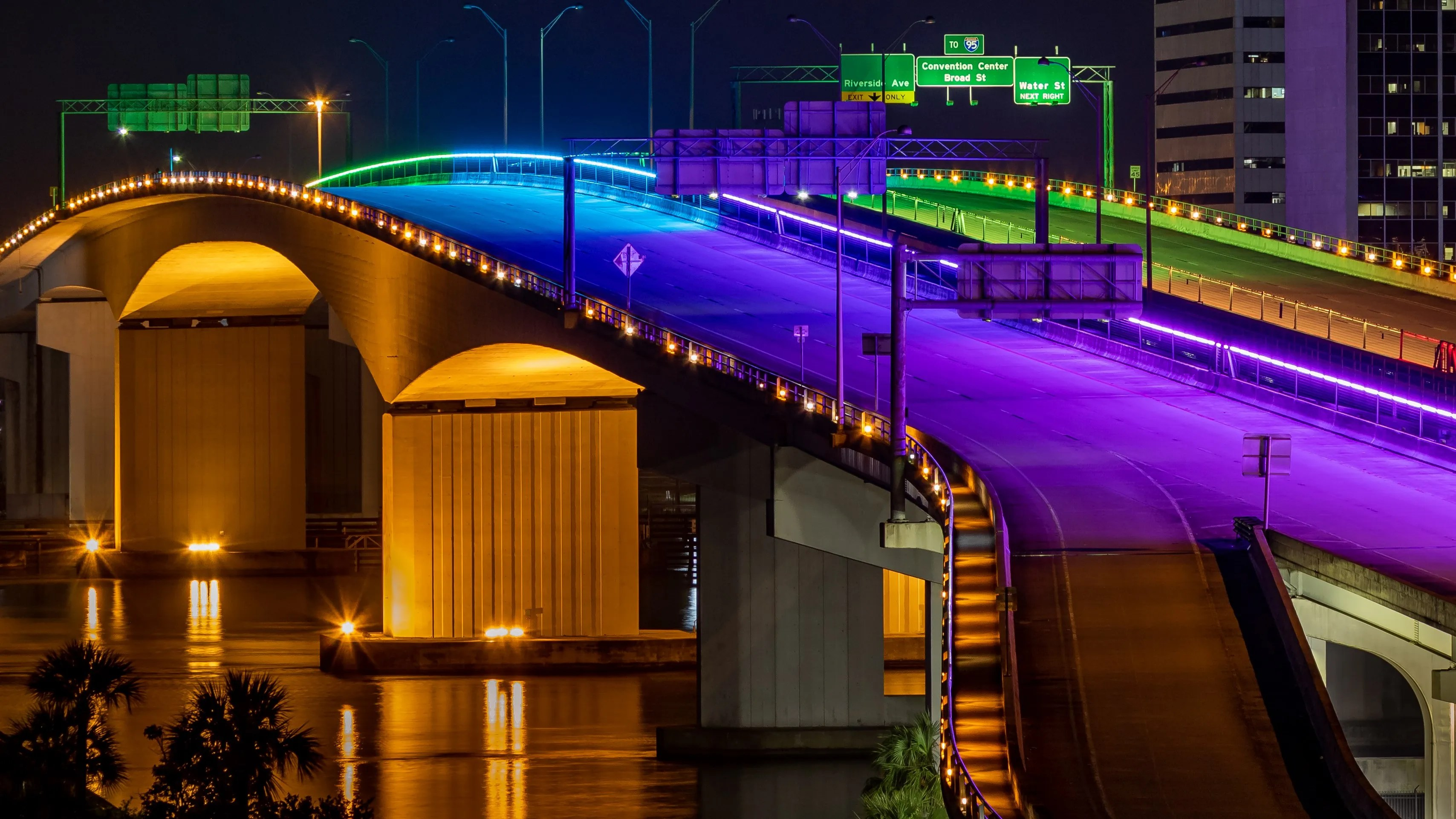 A close-up of Monday's rainbow lighting on the Jacksonville Transportation Authority's Acosta Bridge to honor Pride Month.