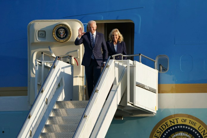 US President Joe Biden and First Lady Jill Biden arrive aboard Air Force One at RAF Mildenhall, England, ahead of the G7 summit in Cornwall, Wednesday June 9, 2021.  Biden will attend the G7 summit in Cornwall, southwest England.