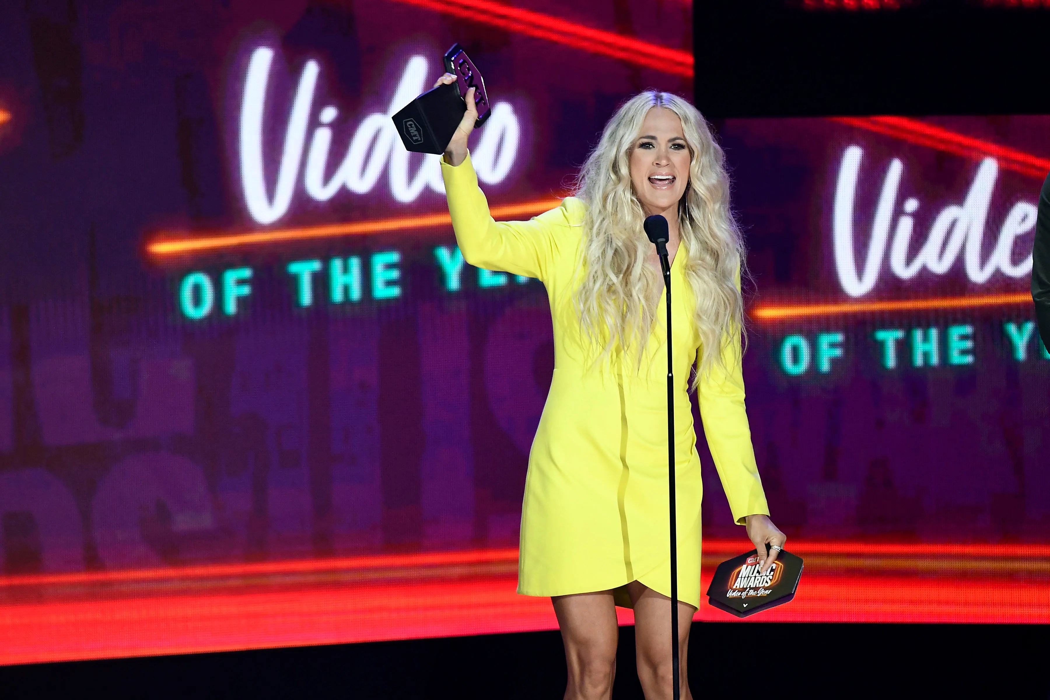 Carrie Underwood accepts the Video of the Year award at the 2021 CMT Music Awards at Bridgstone Arena in Nashville, Tenn on Wednesday, June 9, 2021.