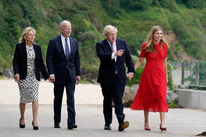 President Joe Biden and first lady Jill Biden meet with British Prime Minister Boris Johnson and his wife, Carrie, before the G-7 summit on June 10 in Carbis Bay, England.