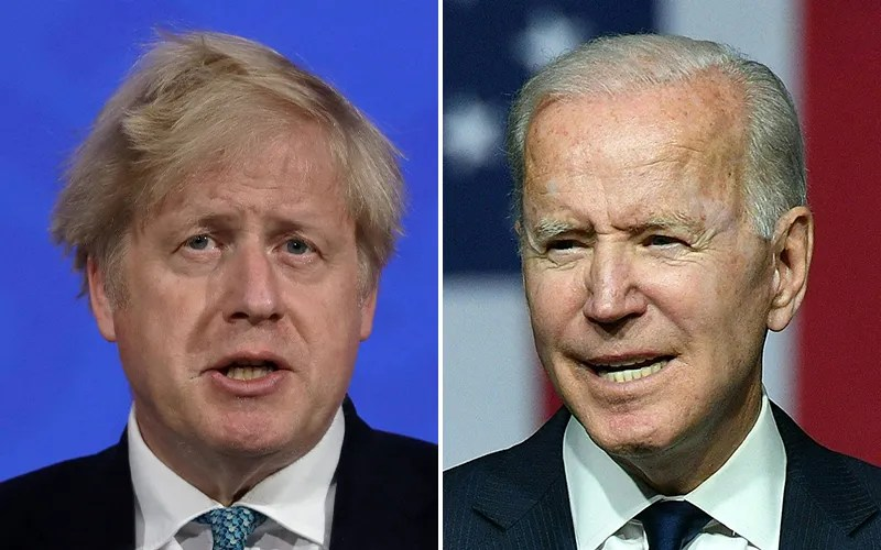 Prime Minister of the United Kingdom Boris Johnson, left, and US President Joe Bide.