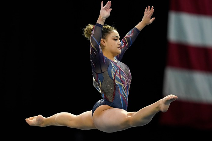 Hernandez performs in the floor exercise during the Winter Cup in Feb. 2021.