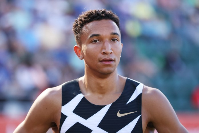Donavan Brazier looks on in the first round of the men's 800 Meters during the 2020 U.S. Olympic Track & Field Team Trials at Hayward Field on June 18, 2021.