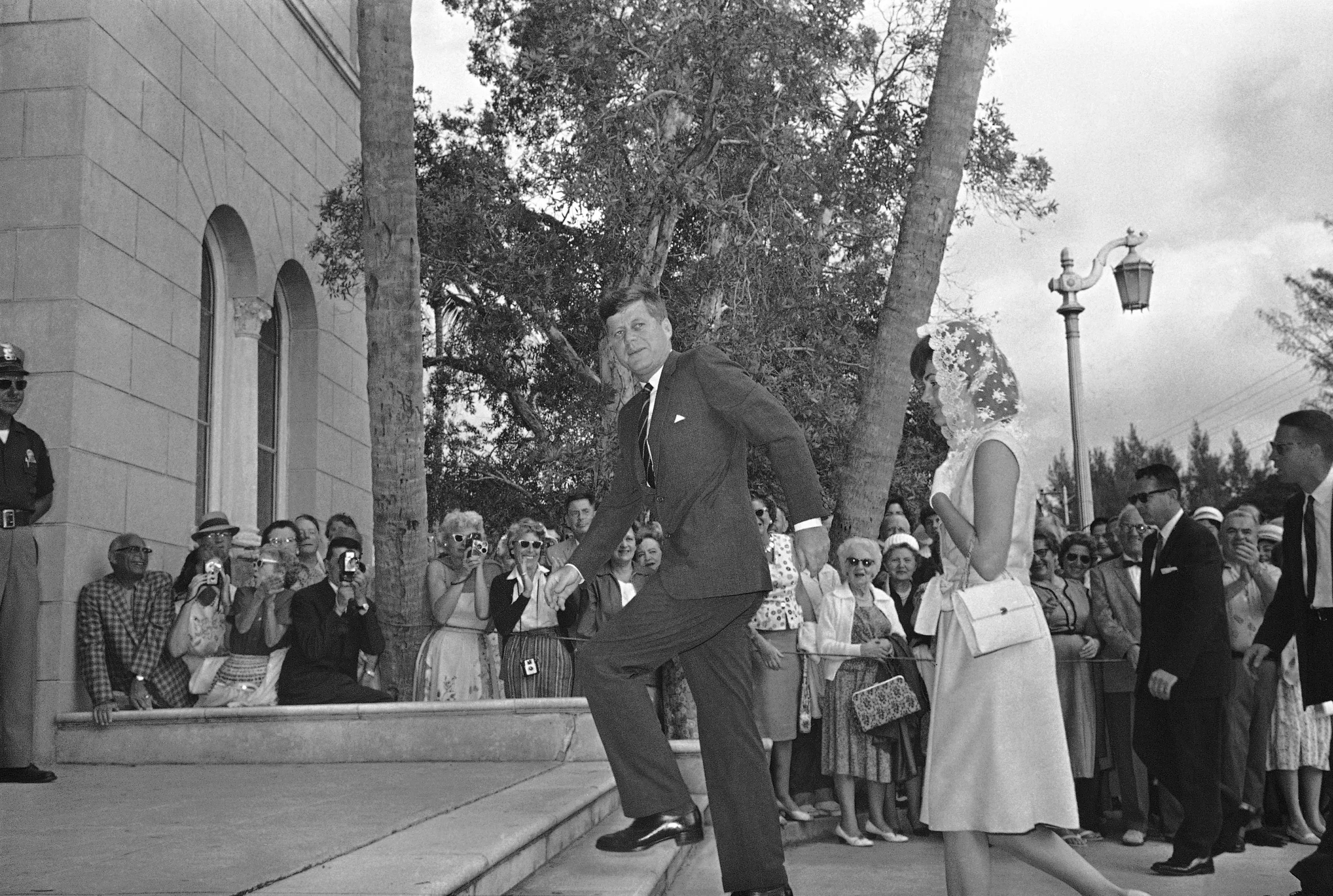 President John F. Kennedy and Jacqueline Kennedy attended mass at St. Edwards Roman Catholic Church on Jan. 28, 1962 in Palm Beach, Florida.