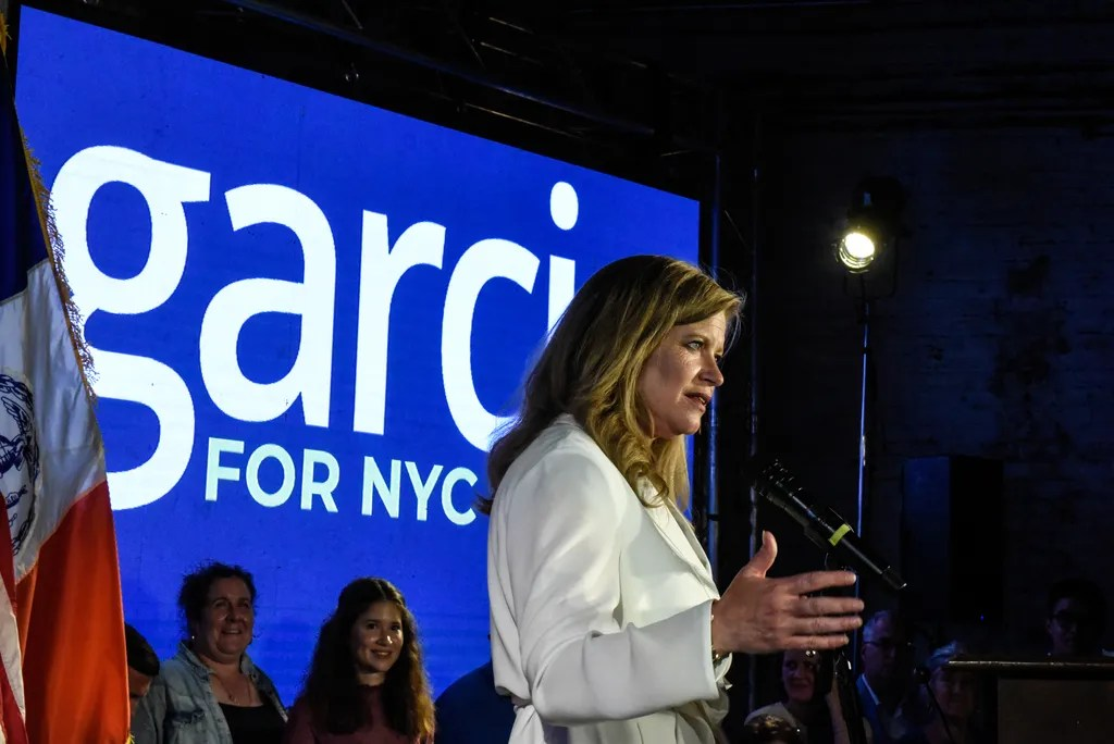 Kathryn Garcia delivers remarks to supporters on June 22, 2021 in the Bushwick neighborhood in New York City.