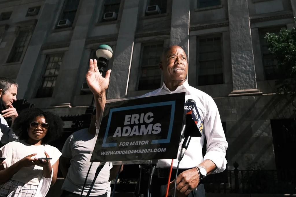 Brooklyn borough President Eric Adams speaks to the media on June 24, 2021 in New York City.