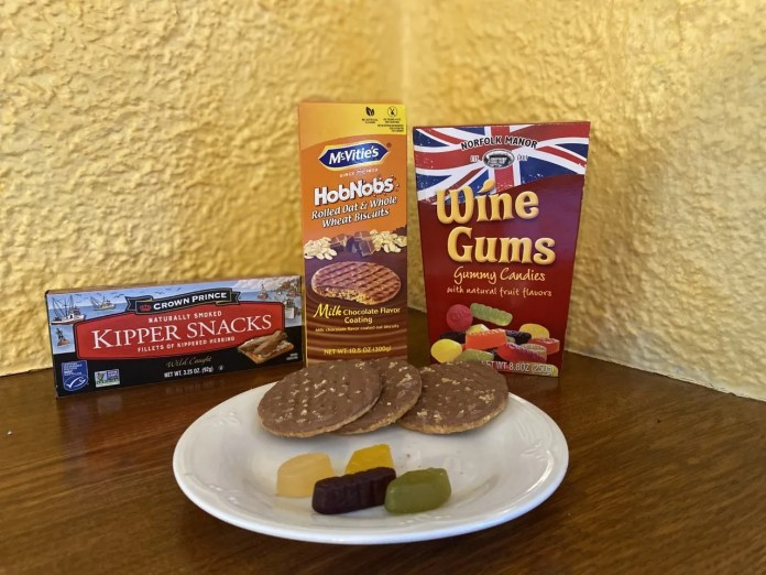 There's no wine in Wine Gums, but the gumdrop-like treats are among the contributions of the United Kingdom, along with Kipper Snacks (herring alert) and Hobnobs, a British biscuit (which we might call cookie).