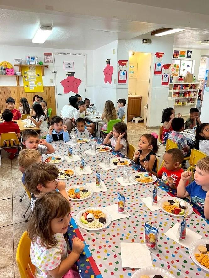 Children enjoy a meal at Parvin's Hopeland Preschool, Kindergarten, and Childcare Center in Stockton, California.