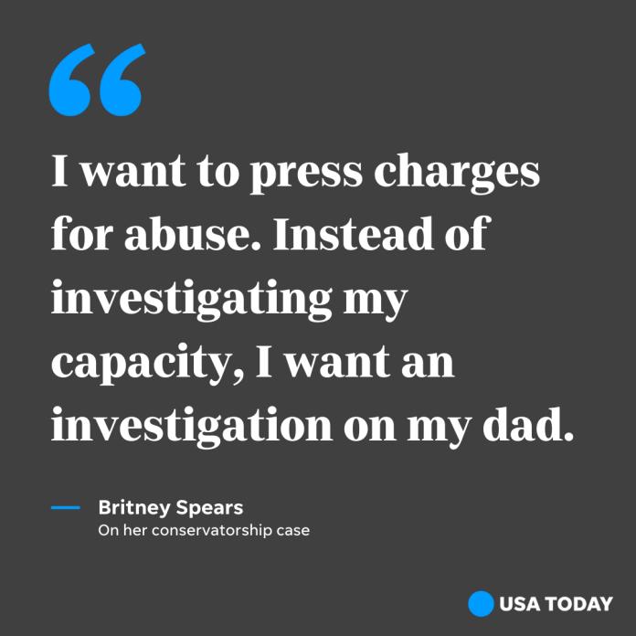 Pop star Britney Spears spoke at her conservatorship hearing on July 14, 2021.