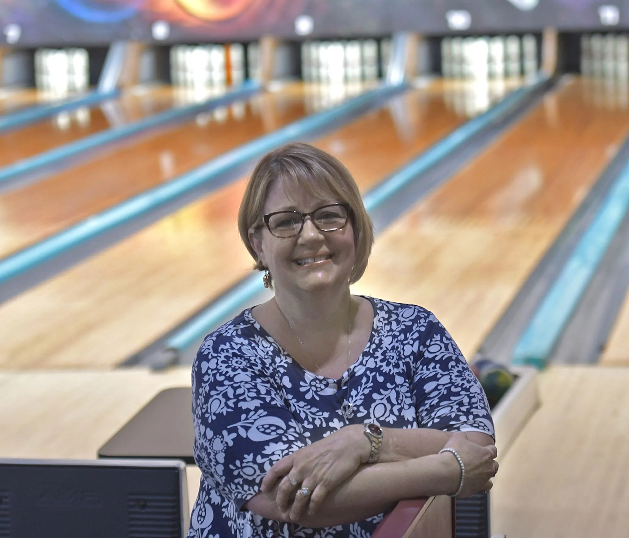 Lisa Moon, owner of the Sparetime Recreation Bowling Center, 117 Church St., Whitinsville.