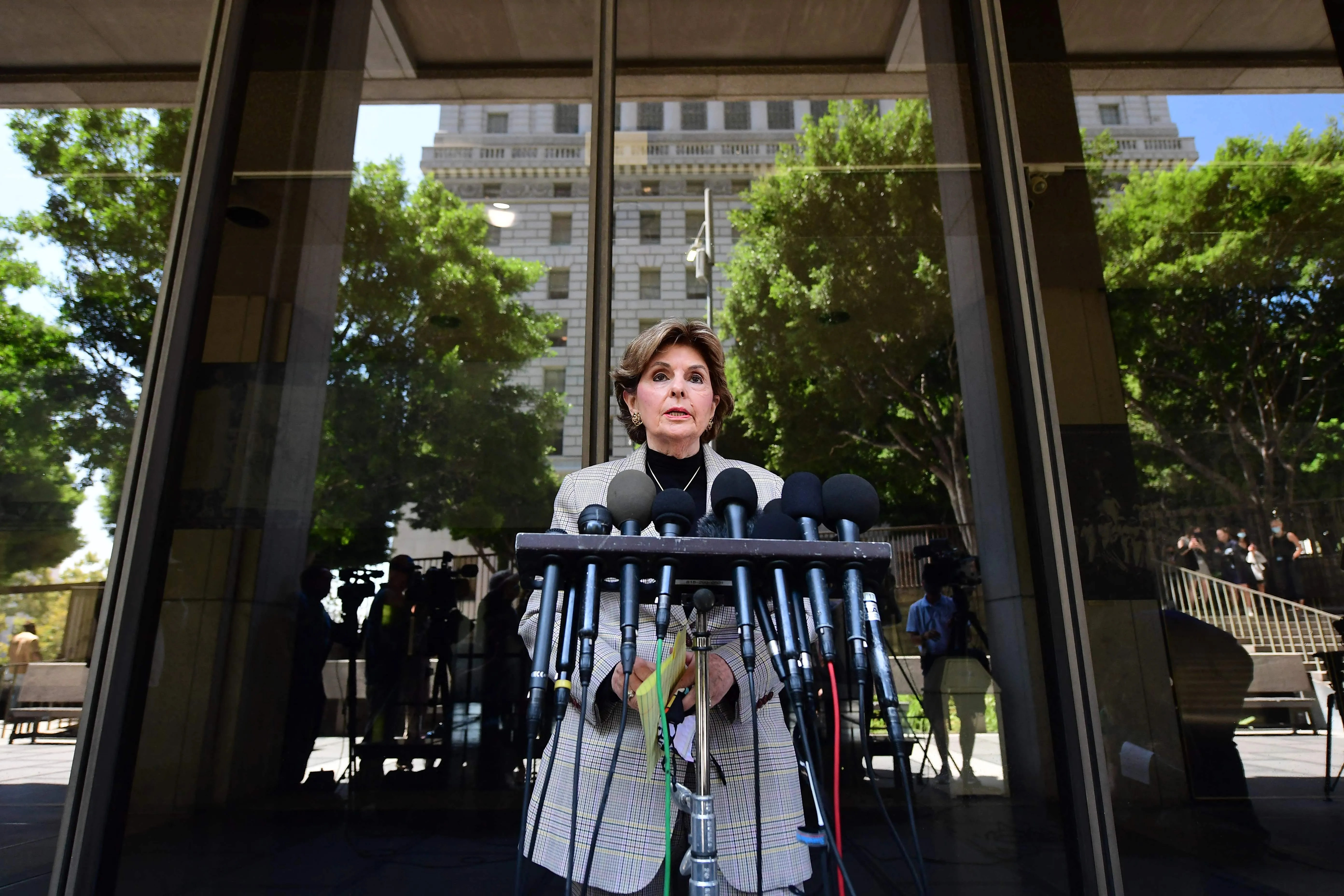 Attorney Gloria Allred, who represents some of Harvey Weinstein's accusers, addresses the press in court on July 21, 2021, after Weinstein pleaded not guilty to sex crimes charges in Los Angeles.