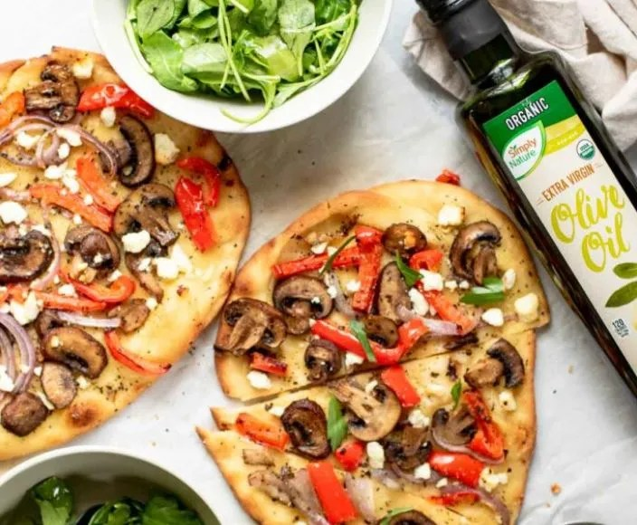 Flatbread with roasted veggies is a quick and delicious meal for the whole family.