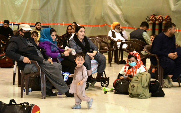 People evacuated from Kabul arrive at Hindon Air force base near New Delhi, India, Aug. 22, 2021. A special military flight carrying 168 people, which includes 107 Indian nationals and 61 others, landed at Hindon Air force base near New Delhi, according to the External Affairs Ministry spokesman.