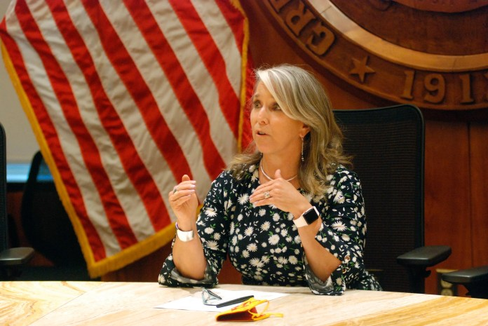 New Mexico governor Michelle Lujan Grisham speaks at a news conference in Santa Fe, New Mexico.