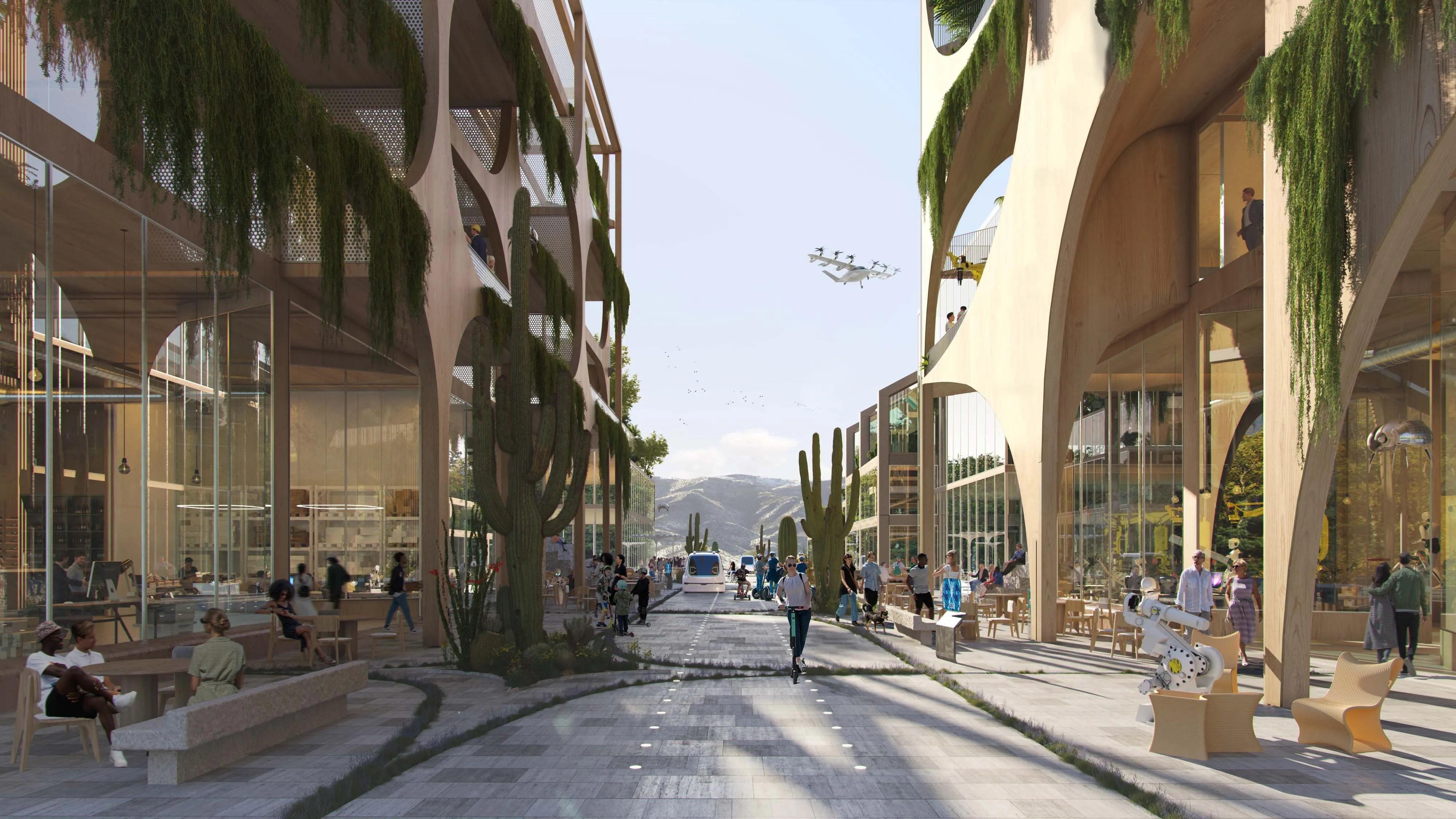 Një pikë qendrore e qytetit, e vendosur për të strehuar rreth 5 milion, do të jetë transporti i tij-me rrugët e Telosa që kanë përparësi për biçikletat dhe këmbësorët, si dhe makinat autonome që lëvizin ngadalë.