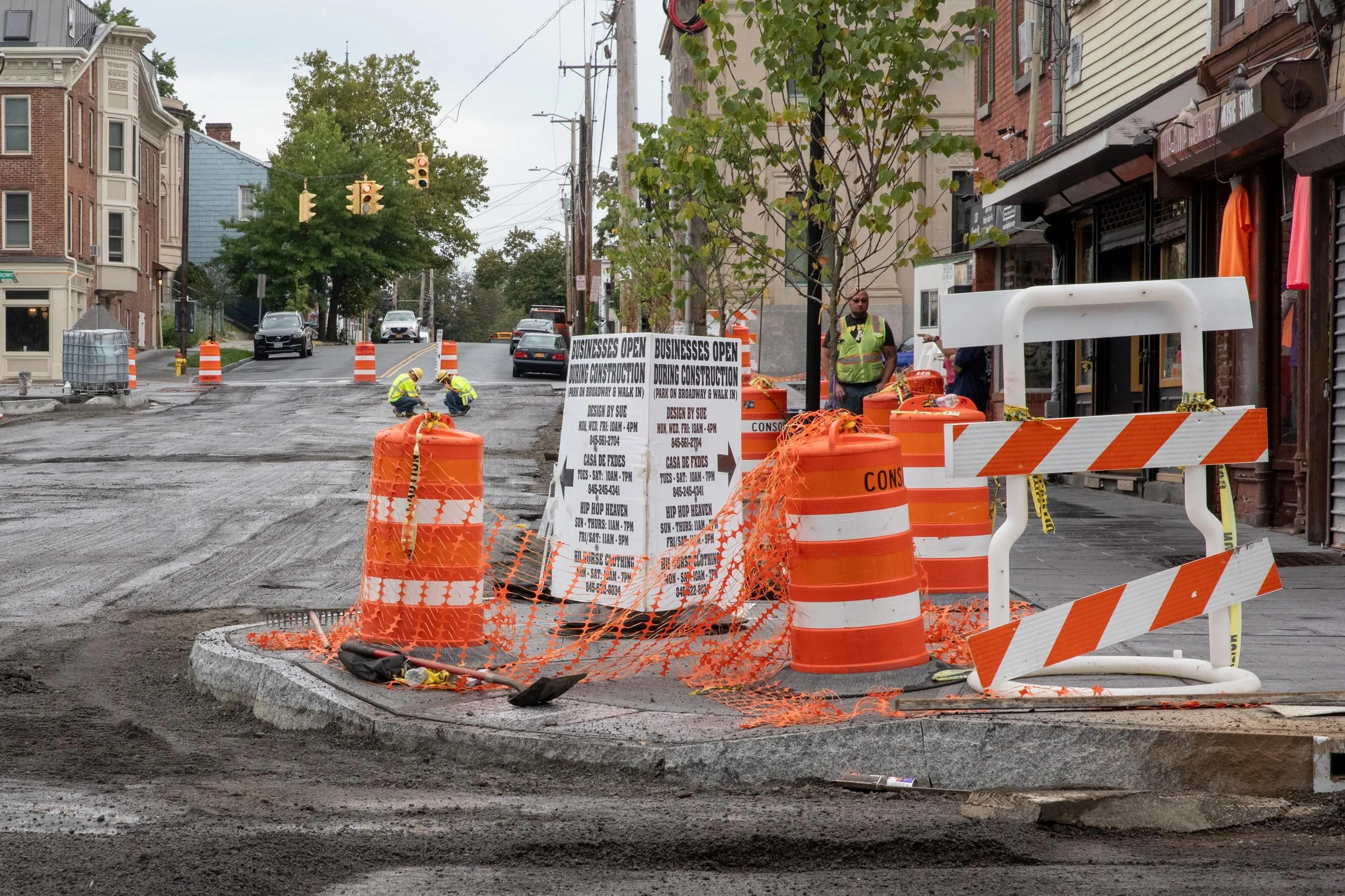 Ongoing construction on Liberty Street in Newburgh, seen on Sept. 9, 2021. Business owners say the delays have hampered access to their shops and limited foot traffic.