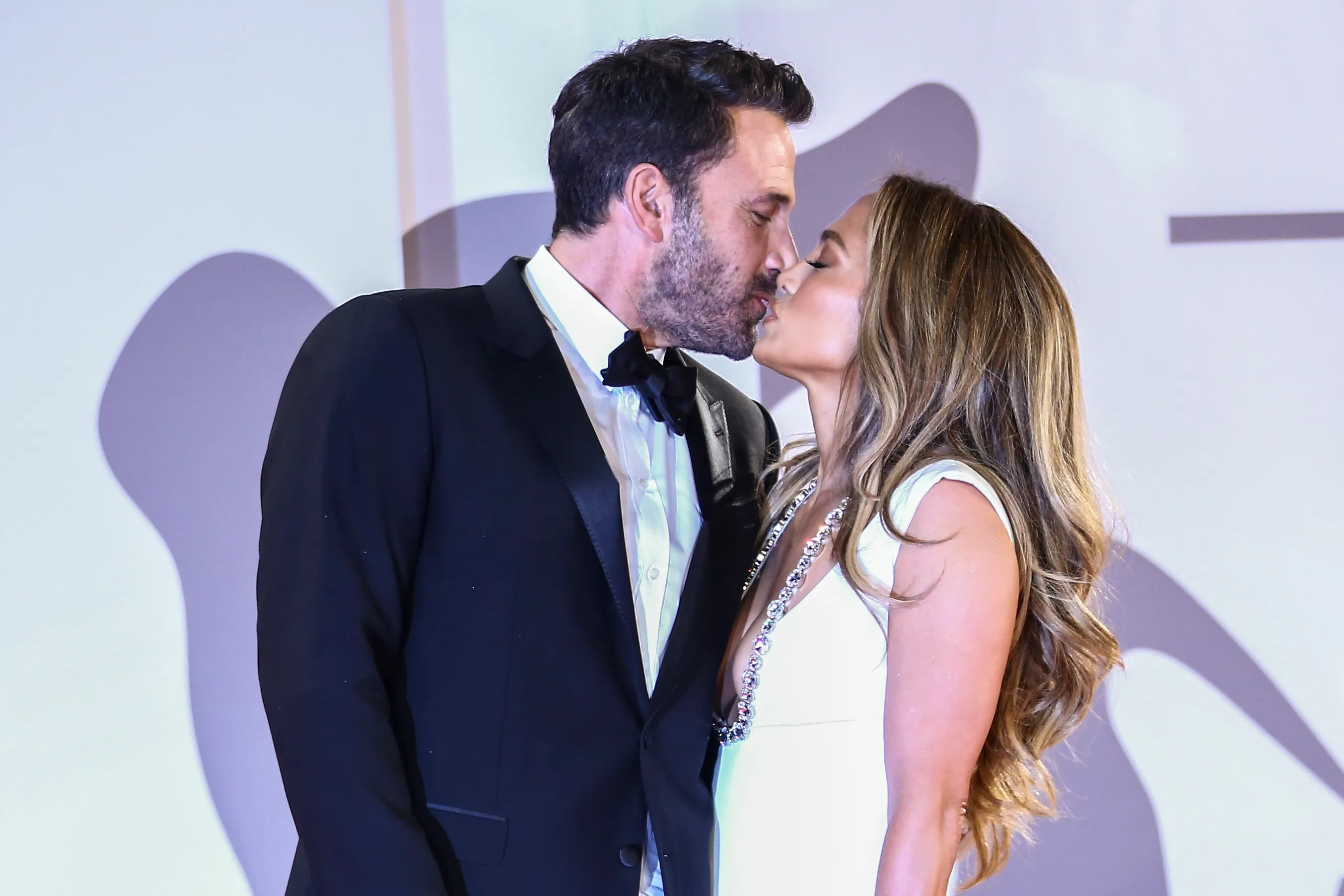 Jennifer Lopez and Ben Affleck kiss at the premiere of the film 'The Last Duel' during the Venice Film Festival in Venice, Italy on Sept. 10.