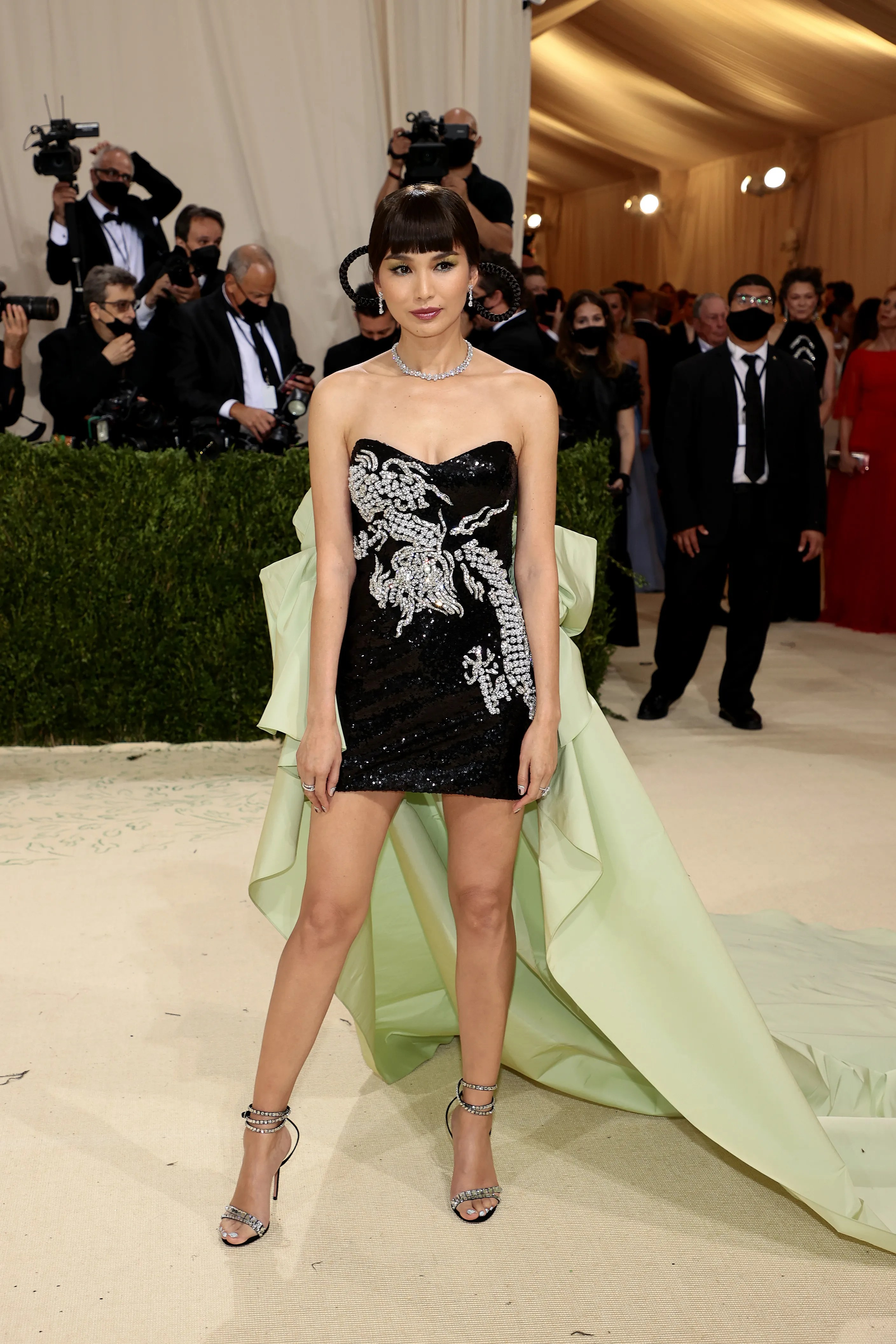 """Gemma Chan attends 2021 Met Gala to celebrate """"In America: a fashion lexicon"""" at the Metropolitan Museum of Art on September 13, 2021 in New York City."""