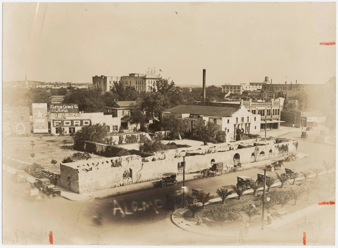 A view of the Alamo in historic San Antonio, Texas includes the long barrack where priests and nuns lived and where historians confirm most of the fighting in the 1836 battle took place.