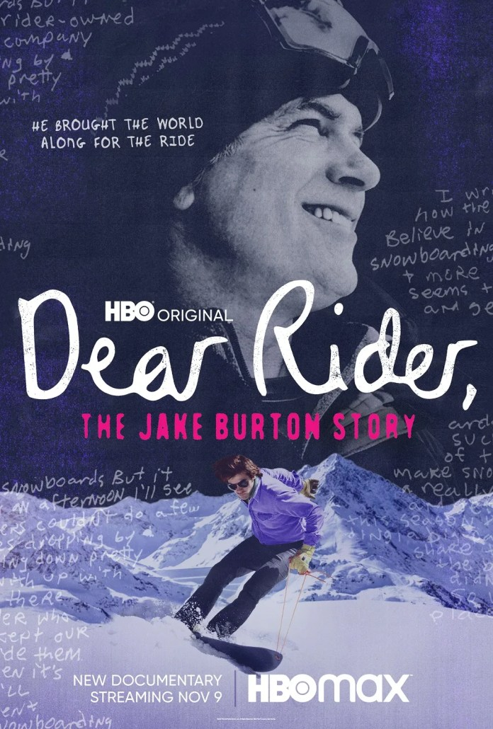 """A poster for """"Dear Rider, the Jake Burton Story"""" that premieres Nov. 9 on HBO and will be available for streaming on HBO Max."""