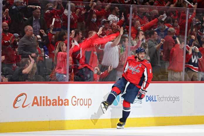 Alex Ovechkin celebrates his second goal of the third period in the Washington Capitals' win over the New York Rangers.