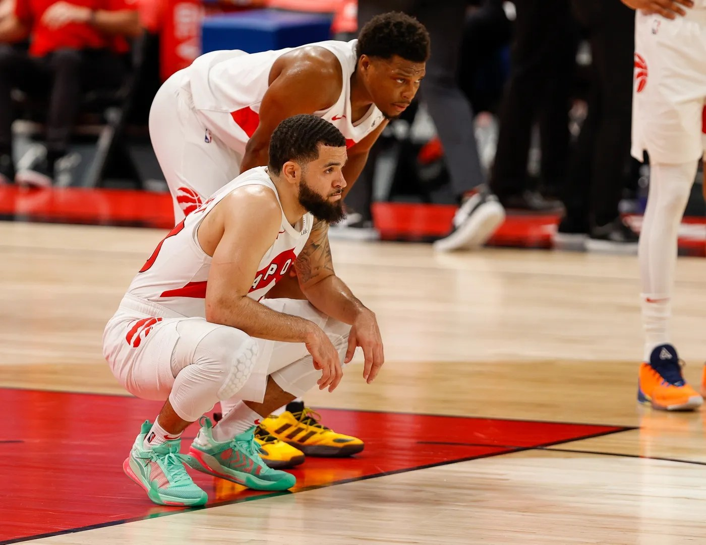 Apr 26, 2021; Tampa, Florida, USA; Toronto Raptors guard Kyle Lowry (right) and Toronto Raptors guard Fred VanVleet (left) look on before the beginning of the third quarter against the Cleveland Cavaliers at Amalie Arena. Mandatory Credit: Nathan Ray Seebeck-USA TODAY Sports