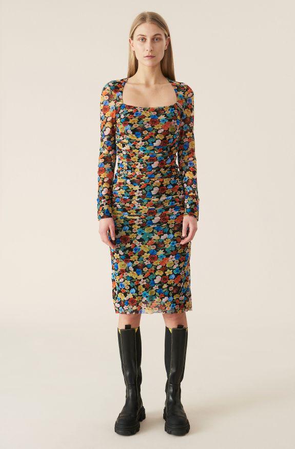 Printed Mesh Dress, Mesh, in colour Multicolour - 1 - GANNI