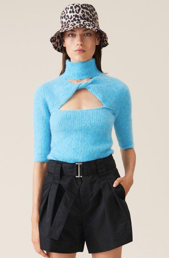 Soft Wool Knit Top, Alpaca, in colour Bachelor Blue - 1 - GANNI