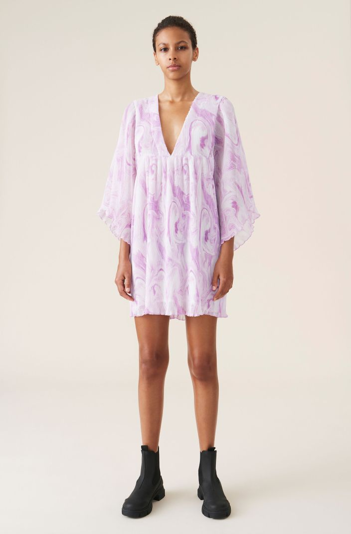 Pleated Georgette Oversized Mini Dress, Recycled Polyester, in colour Orchid Bloom - 1 - GANNI