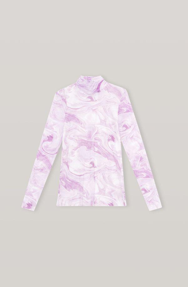 Printed Mesh Rollneck, Elastane, in colour Orchid Bloom - 1 - GANNI