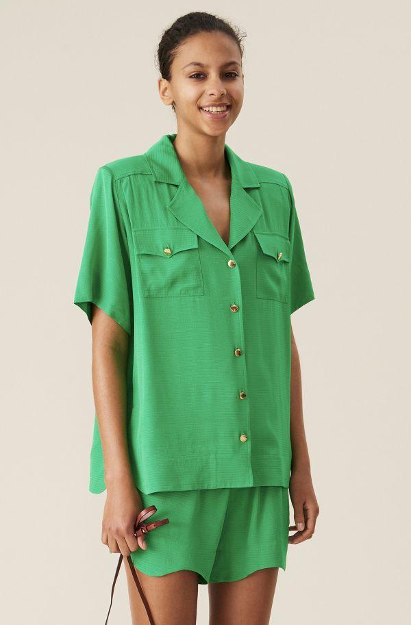 Green Ripstop Short-sleeves Shirt, Viscose, in colour Kelly Green - 1 - GANNI