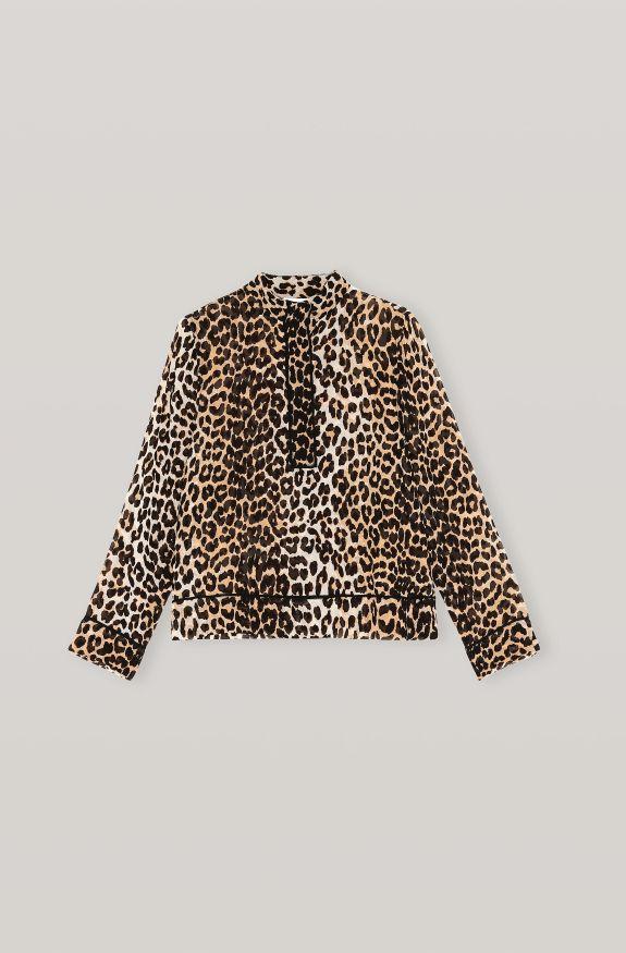 Printed Georgette Shirt, in colour Leopard - 1 - GANNI